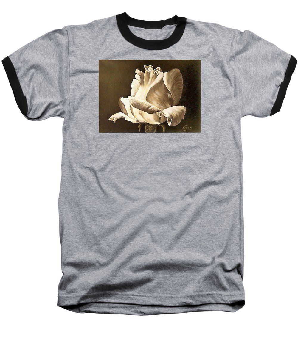 Rose Flower Baseball T-Shirt featuring the painting Feeling The Light by Natalia Tejera