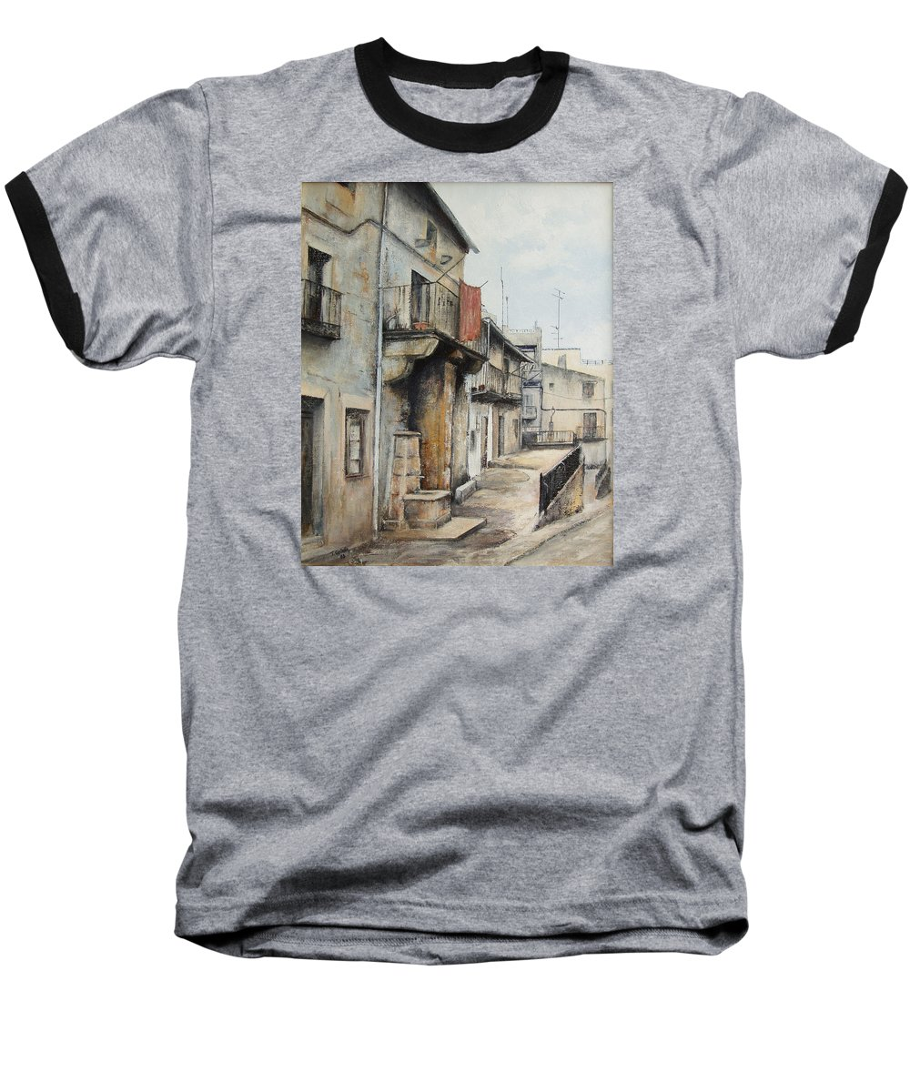 Fermoselle Zamora Spain Oil Painting City Scapes Urban Art Baseball T-Shirt featuring the painting Fermoselle by Tomas Castano