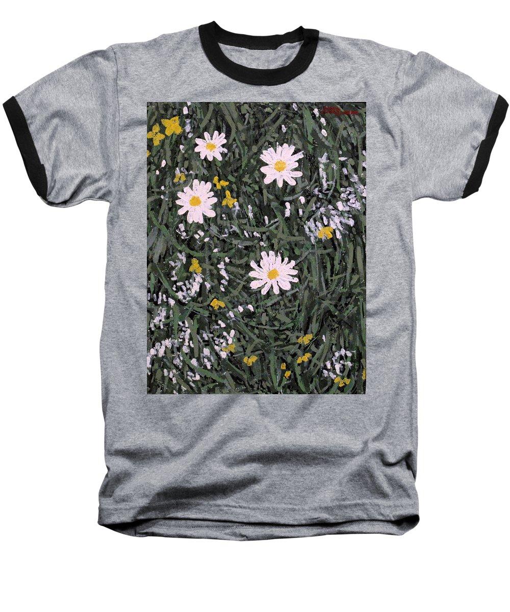 Daisies Baseball T-Shirt featuring the painting Field Daisies by Ian MacDonald
