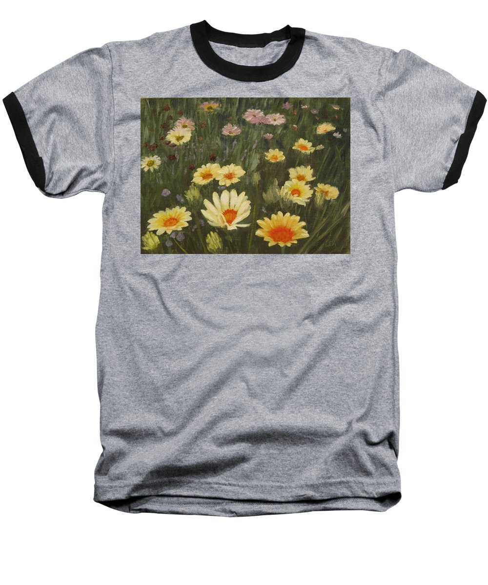 Flower Baseball T-Shirt featuring the painting Field Of Flowers by Lea Novak