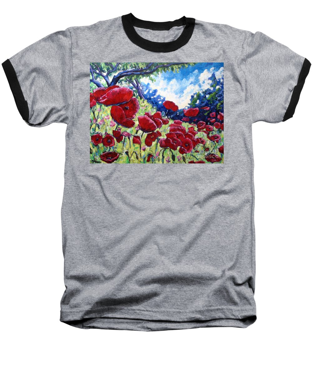Poppies Baseball T-Shirt featuring the painting Field Of Poppies 02 by Richard T Pranke