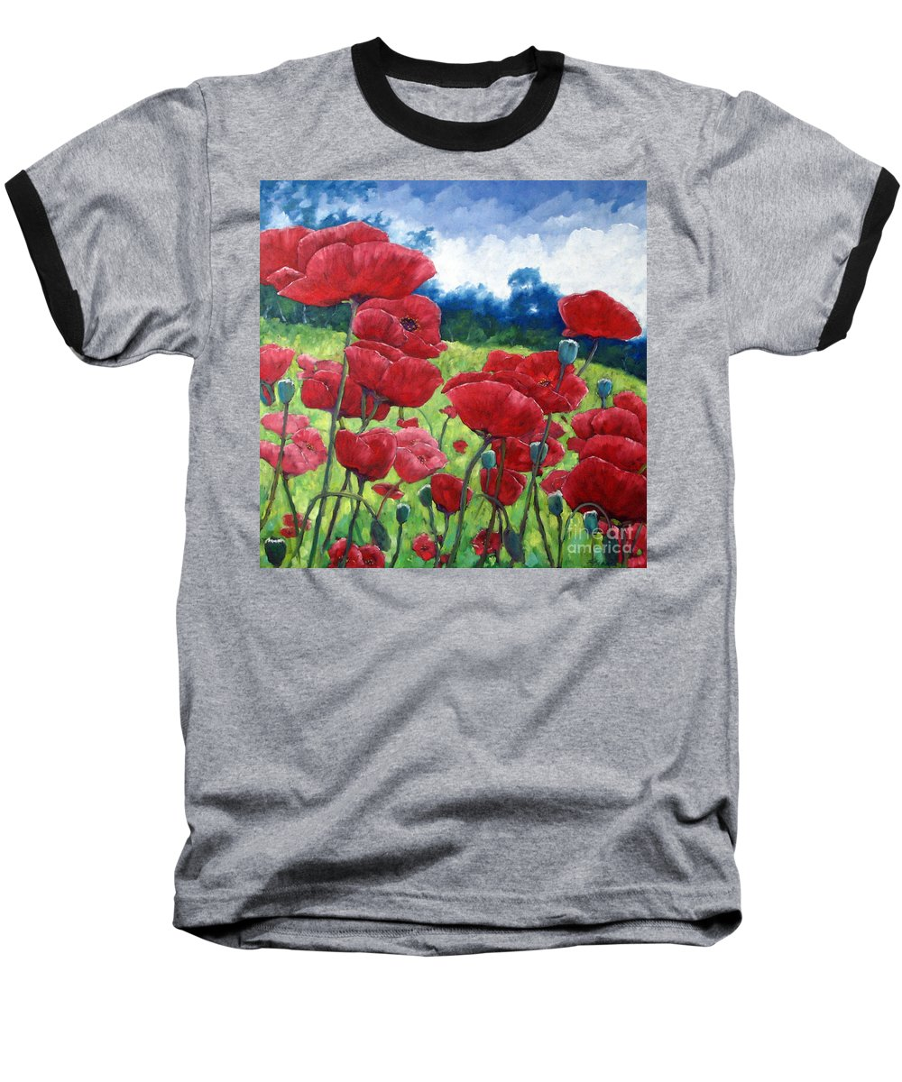 Poppies Baseball T-Shirt featuring the painting Field Of Poppies by Richard T Pranke