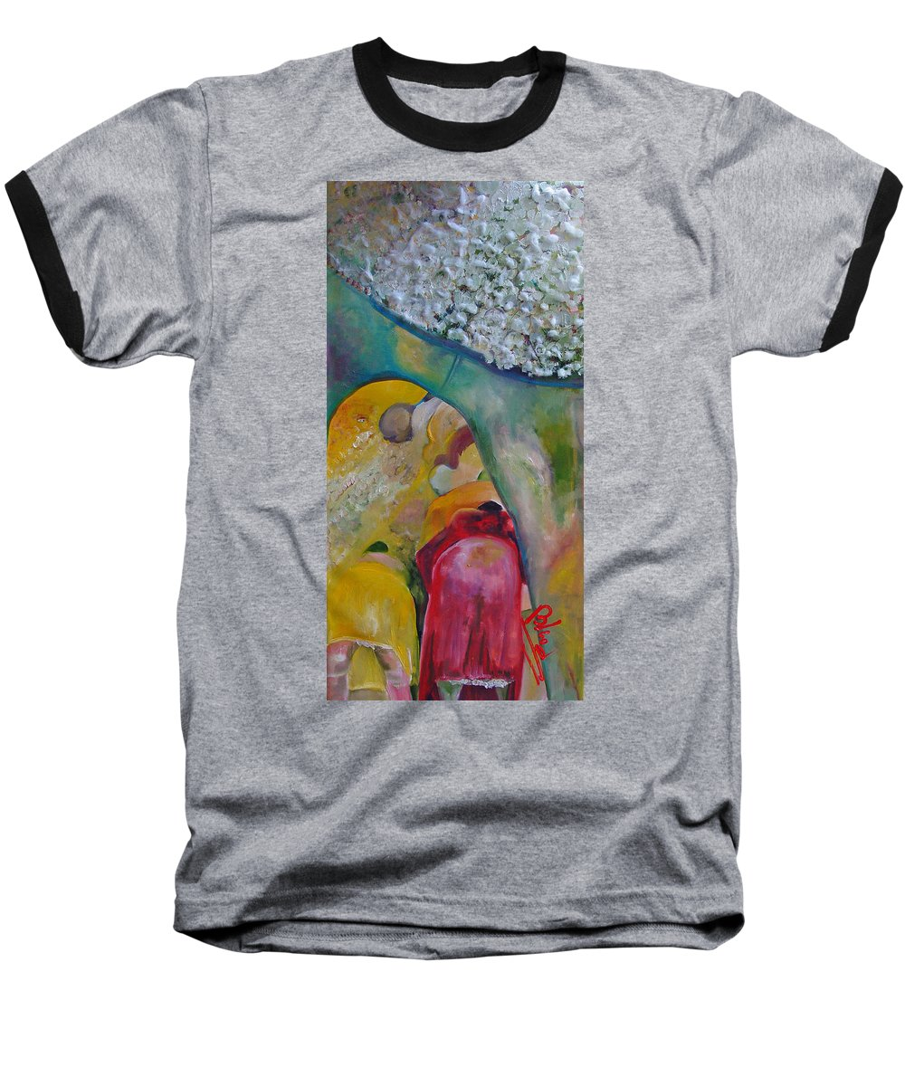 Cotton Baseball T-Shirt featuring the painting Fields Of Cotton by Peggy Blood