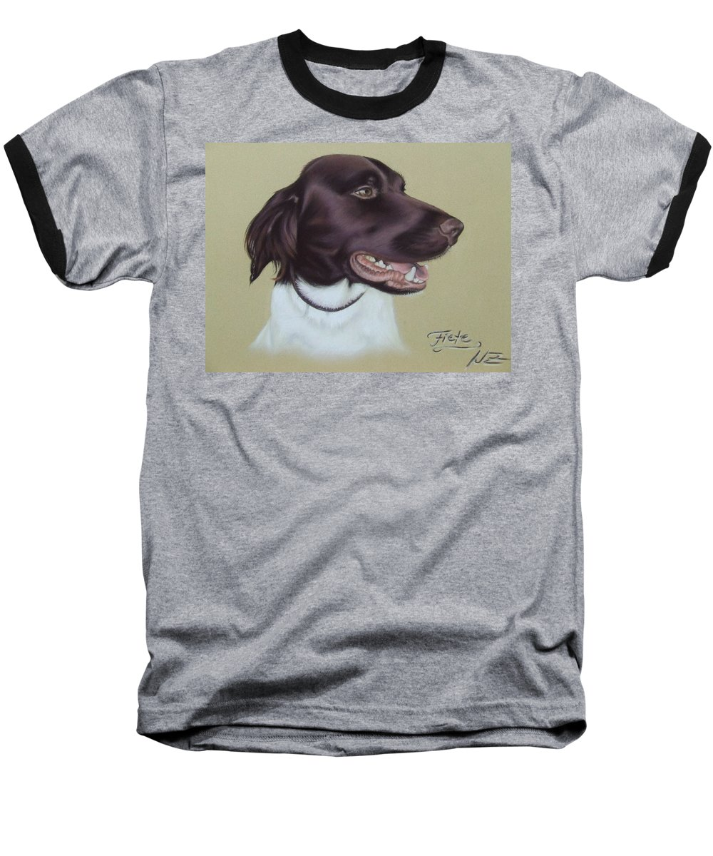 Dog Baseball T-Shirt featuring the pastel Fiete by Nicole Zeug