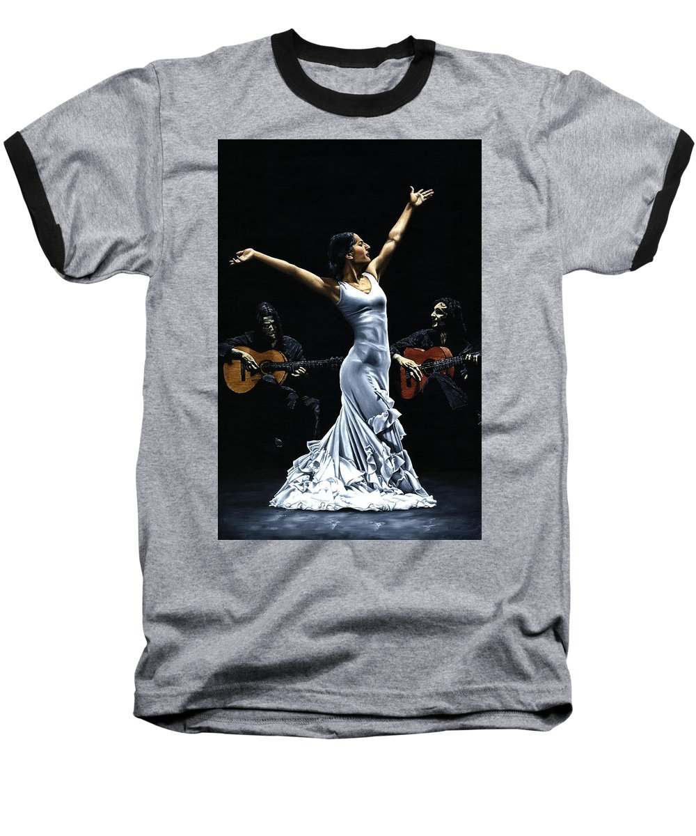 Flamenco Baseball T-Shirt featuring the painting Finale Del Funcionamiento Del Flamenco by Richard Young