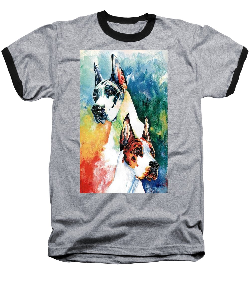 Great Dane Baseball T-Shirt featuring the painting Fire And Ice by Kathleen Sepulveda