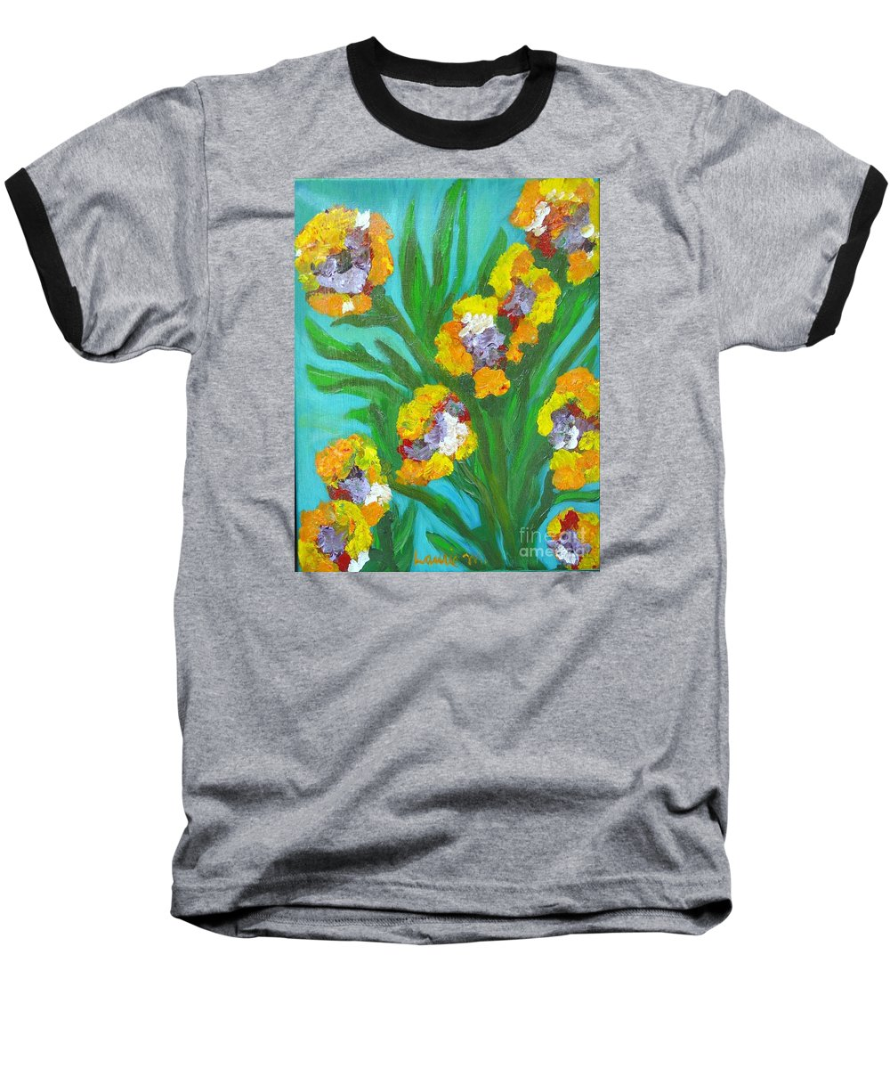 Flower Baseball T-Shirt featuring the painting Fire Blossoms by Laurie Morgan