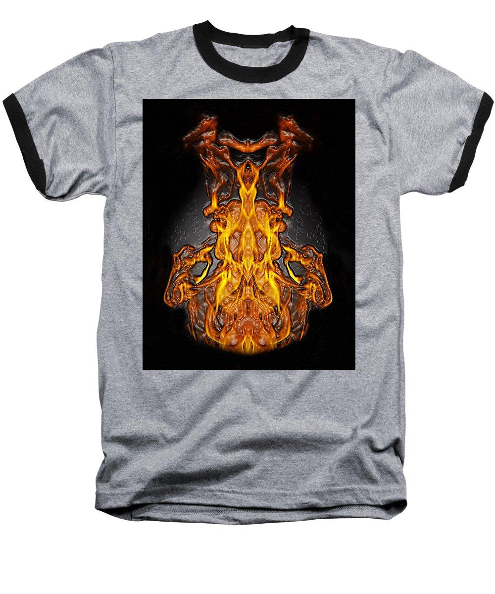 Devil Baseball T-Shirt featuring the photograph Fire Leather by Peter Piatt