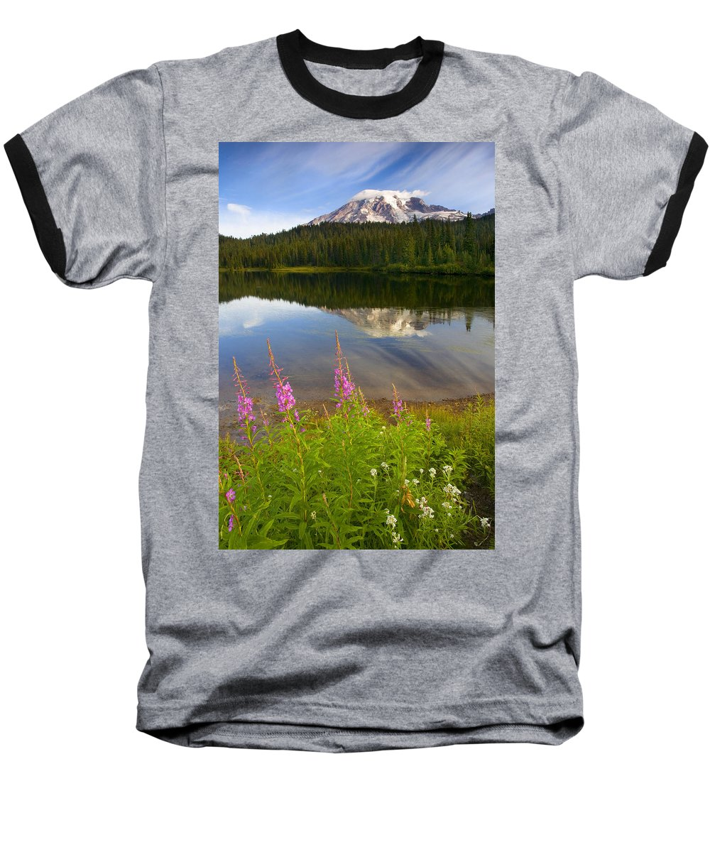 Fireweed Baseball T-Shirt featuring the photograph Fireweed Reflections by Mike Dawson