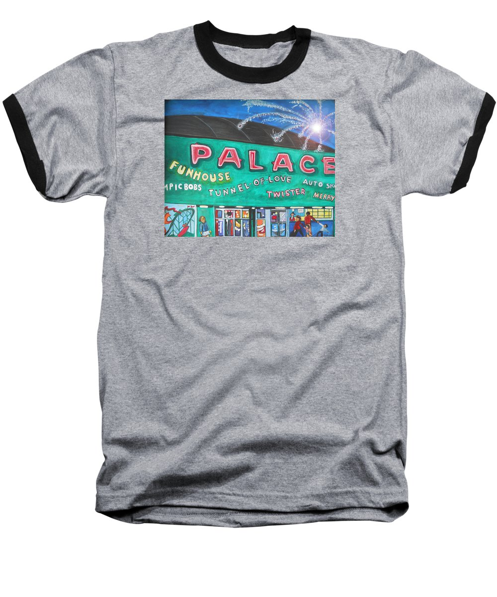 Asbury Park Art Baseball T-Shirt featuring the painting Fireworks At The Palace by Patricia Arroyo