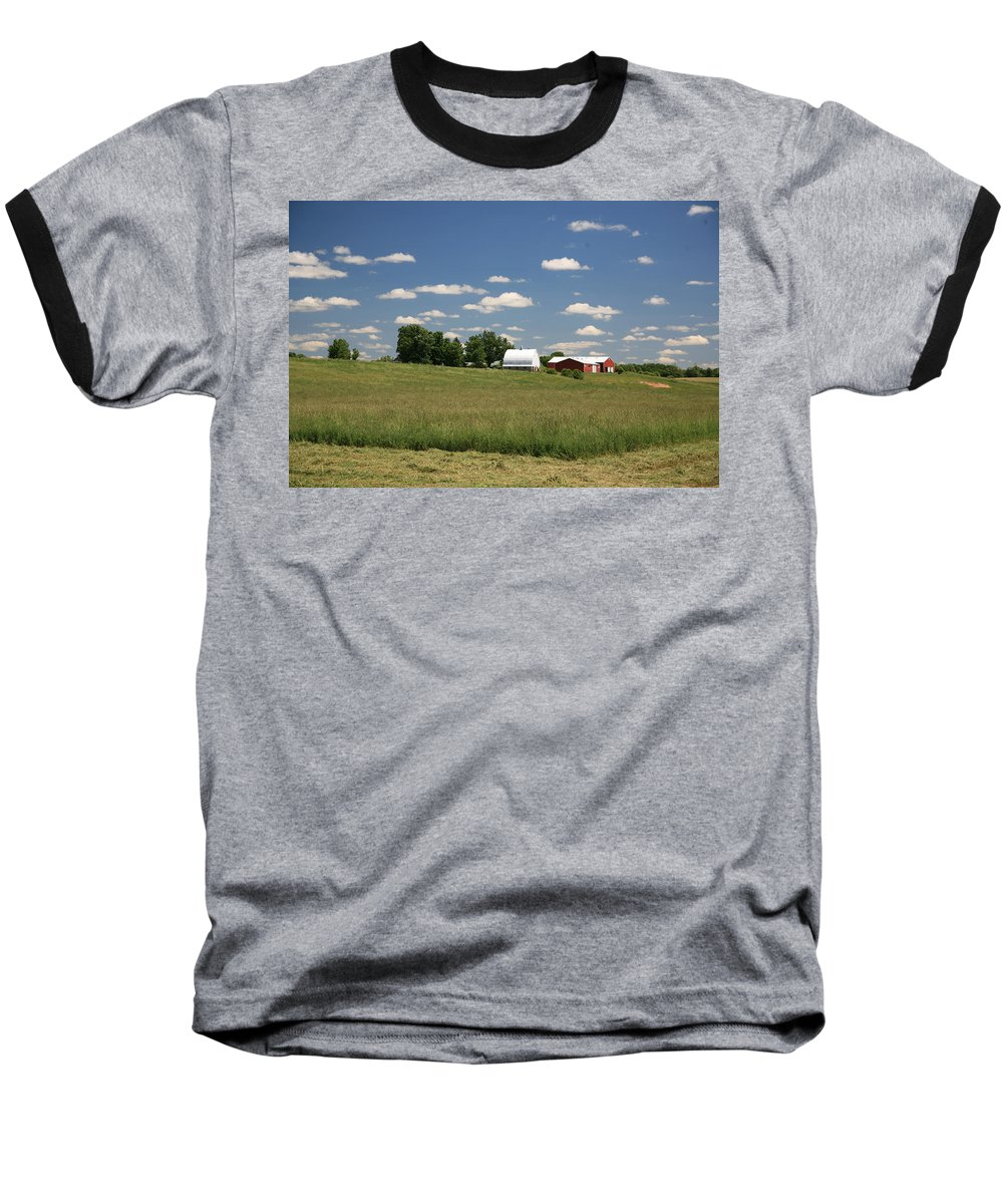 Farm Baseball T-Shirt featuring the photograph First Cutting by Robert Pearson