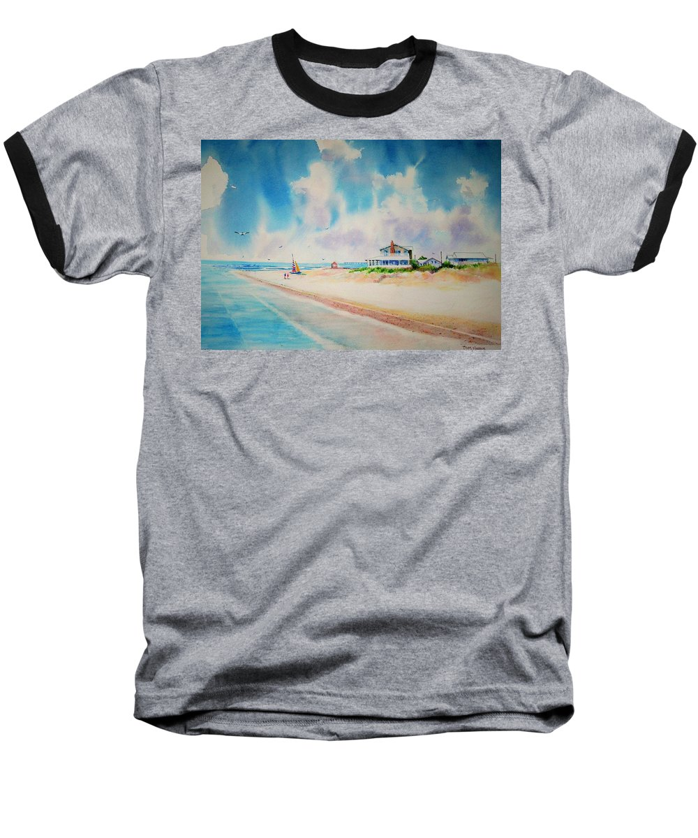 Beach Baseball T-Shirt featuring the painting First Day Of Vacation Is Pricless by Tom Harris