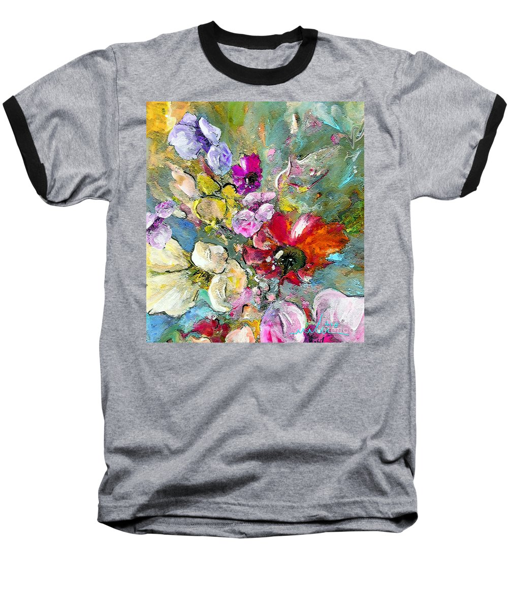 Nature Painting Baseball T-Shirt featuring the painting First Flowers by Miki De Goodaboom
