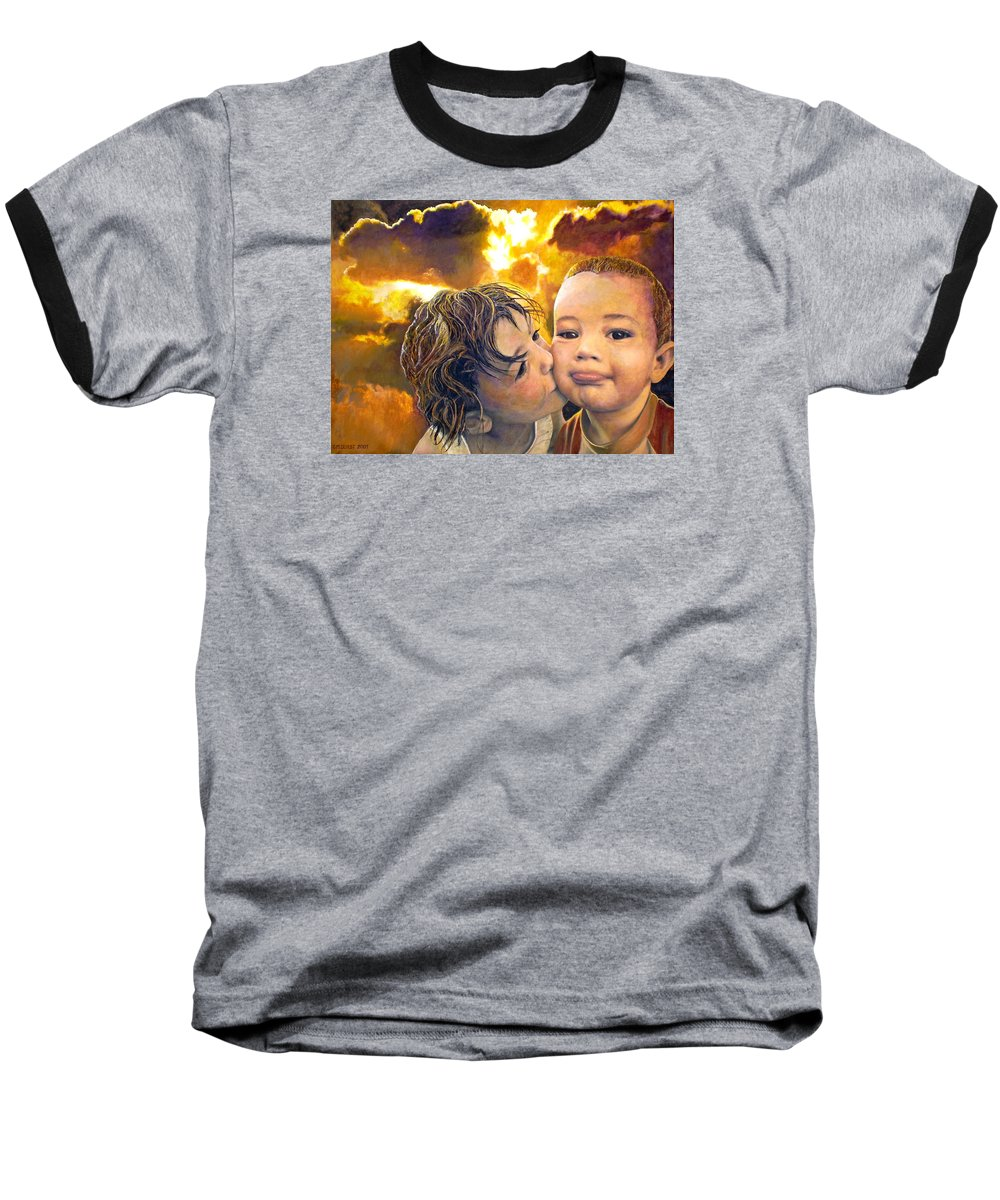 Children Baseball T-Shirt featuring the painting First Kiss by Michael Durst