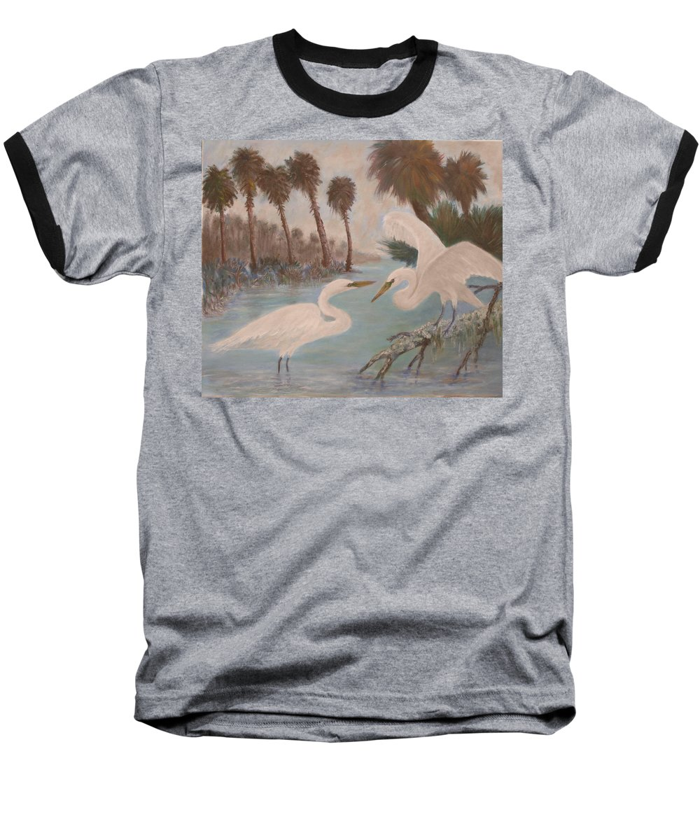 Egret Baseball T-Shirt featuring the painting First Meeting by Ben Kiger