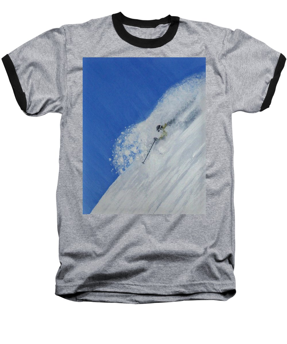 Ski Baseball T-Shirt featuring the painting First by Michael Cuozzo