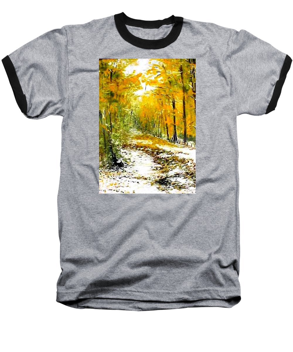 Landscape Baseball T-Shirt featuring the painting First Snow by Boris Garibyan