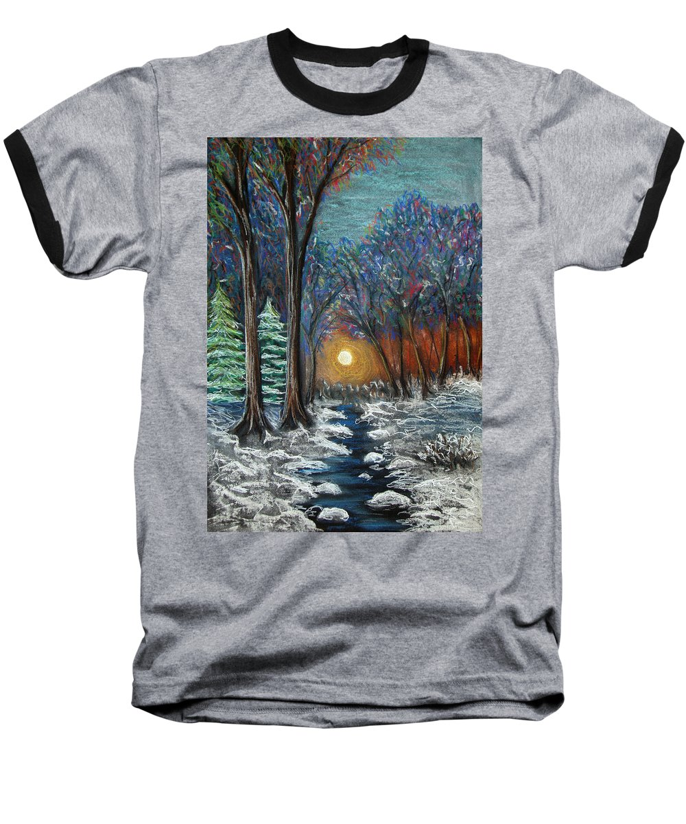 Snow Baseball T-Shirt featuring the pastel First Snow by Nancy Mueller