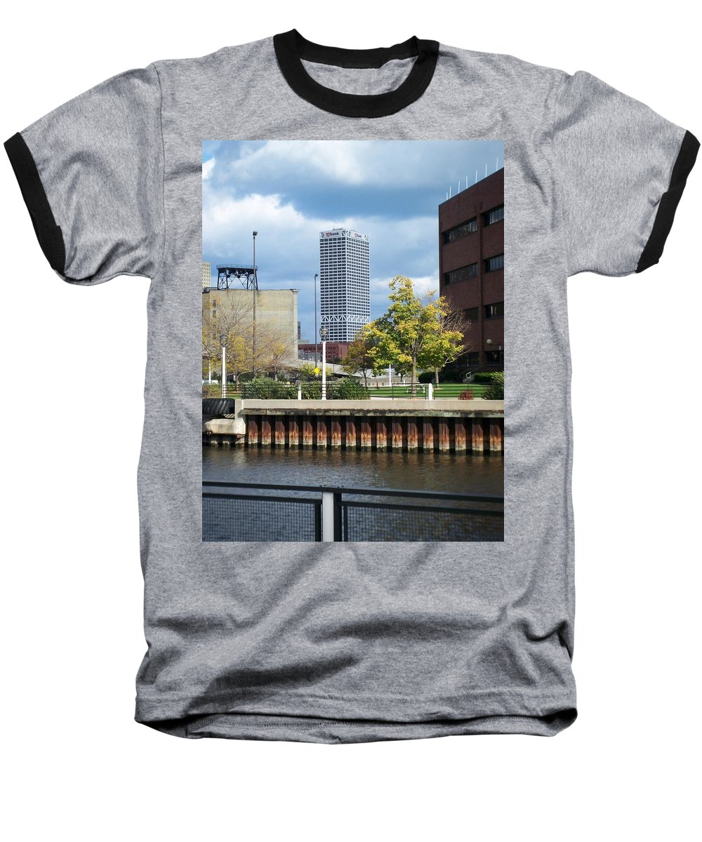 First Star Bank Baseball T-Shirt featuring the photograph First Star Tall View From River by Anita Burgermeister