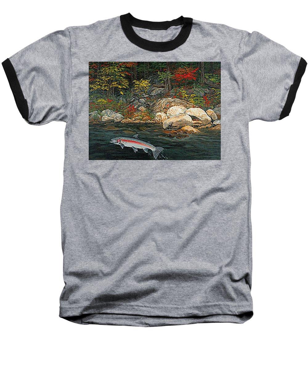 Art Baseball T-Shirt featuring the painting Fish Art Jumping Silver Steelhead Trout Art Nature Artwork Giclee Wildlife Underwater Wall Art Work by Baslee Troutman