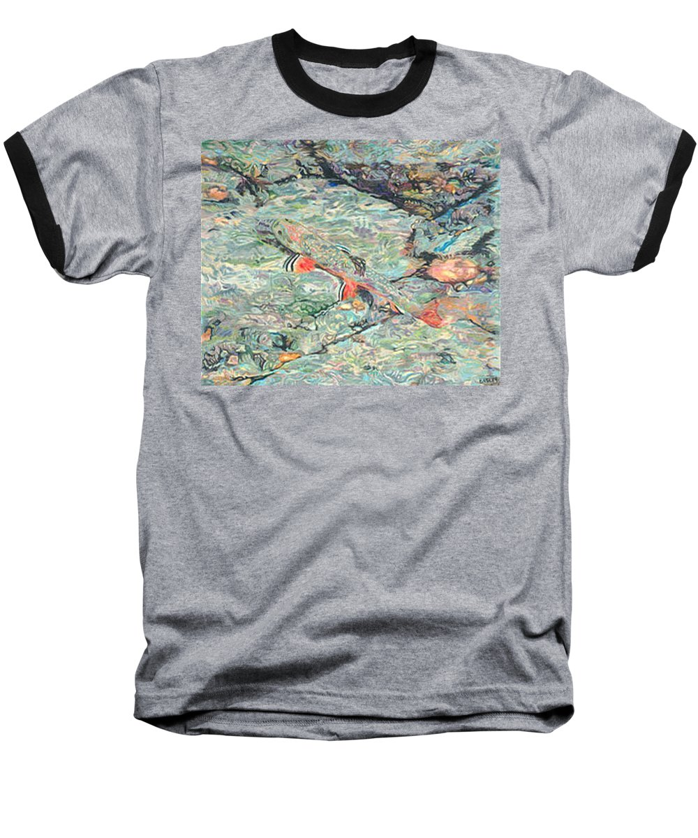 Art Baseball T-Shirt featuring the drawing Fish Art Trout Art Brook Trout Brookie Artwork Nature Underwater Wildlife Creek Art River Art Lake by Baslee Troutman
