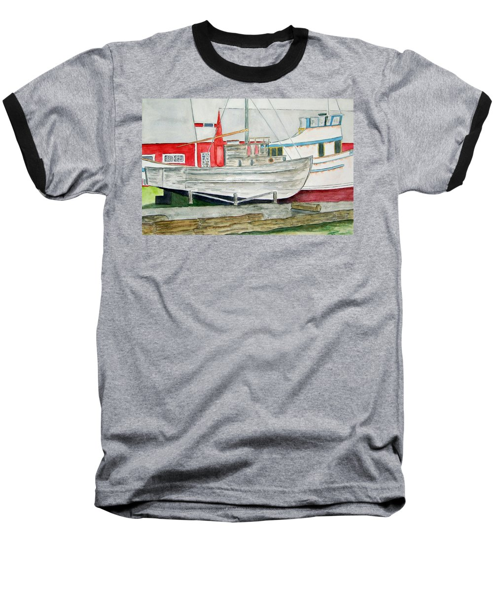Alaska Art Baseball T-Shirt featuring the painting Fish Out Of Water by Larry Wright