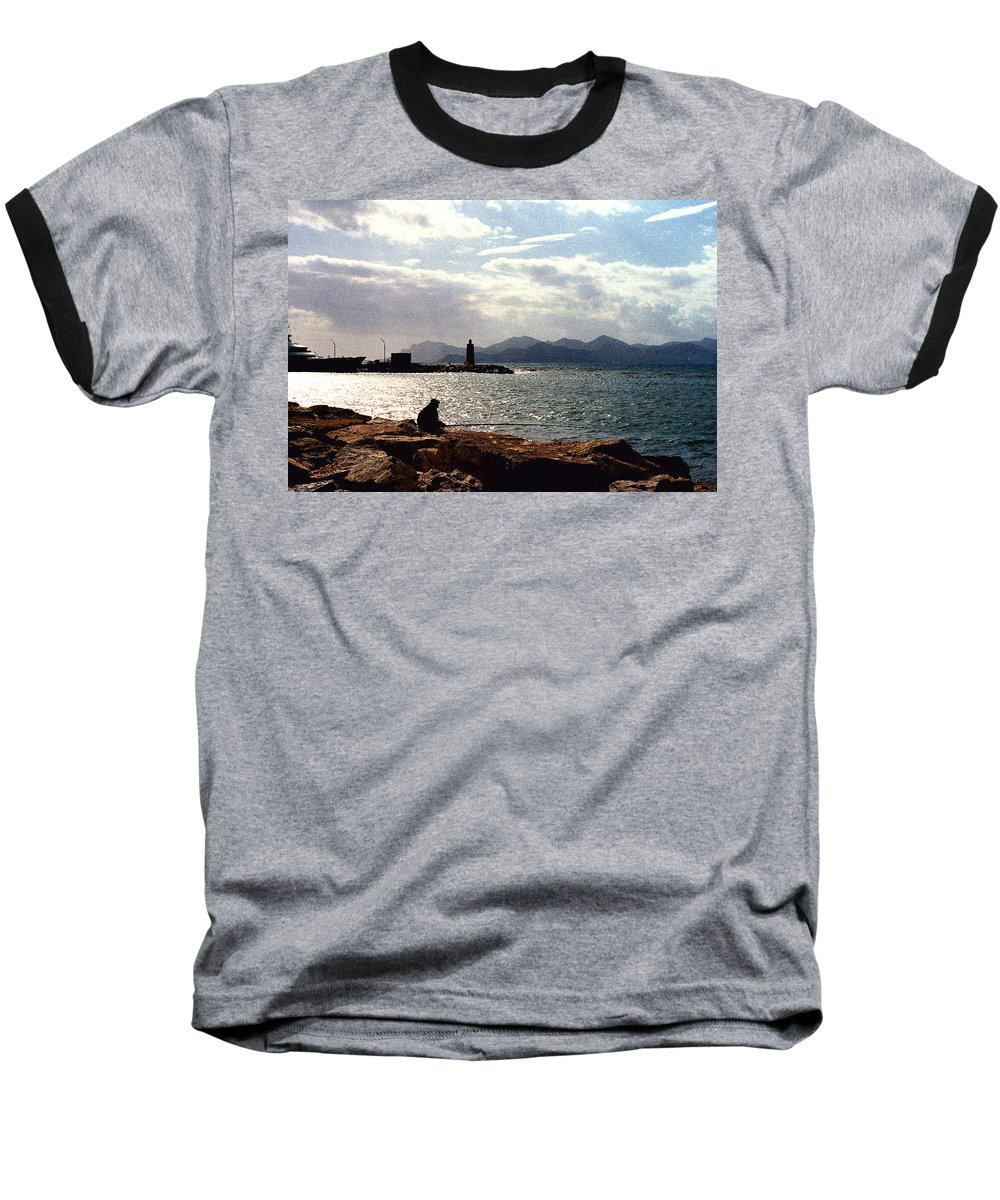 Fisherman Baseball T-Shirt featuring the photograph Fisherman In Nice France by Nancy Mueller
