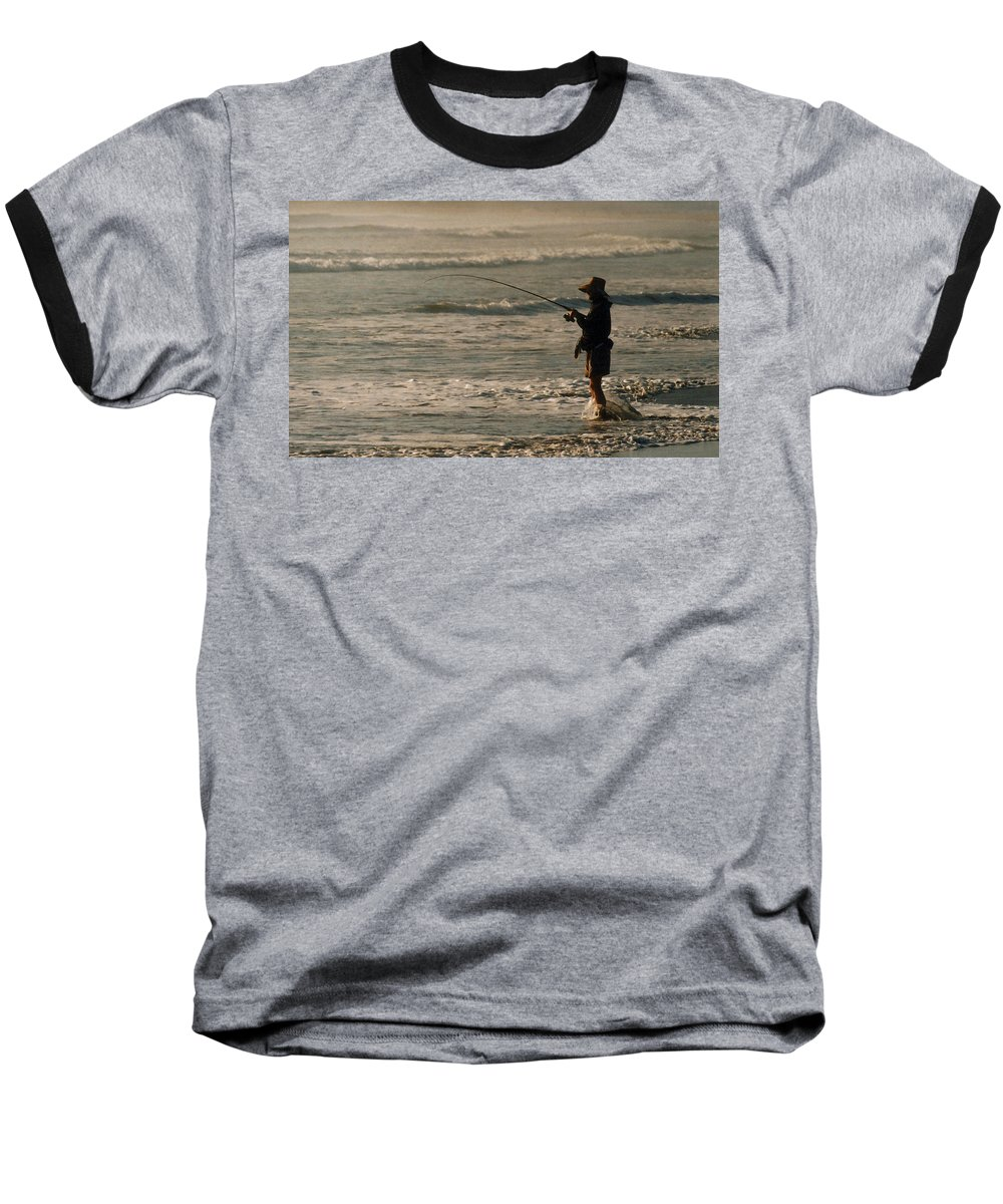 Fisherman Baseball T-Shirt featuring the photograph Fisherman by Steve Karol