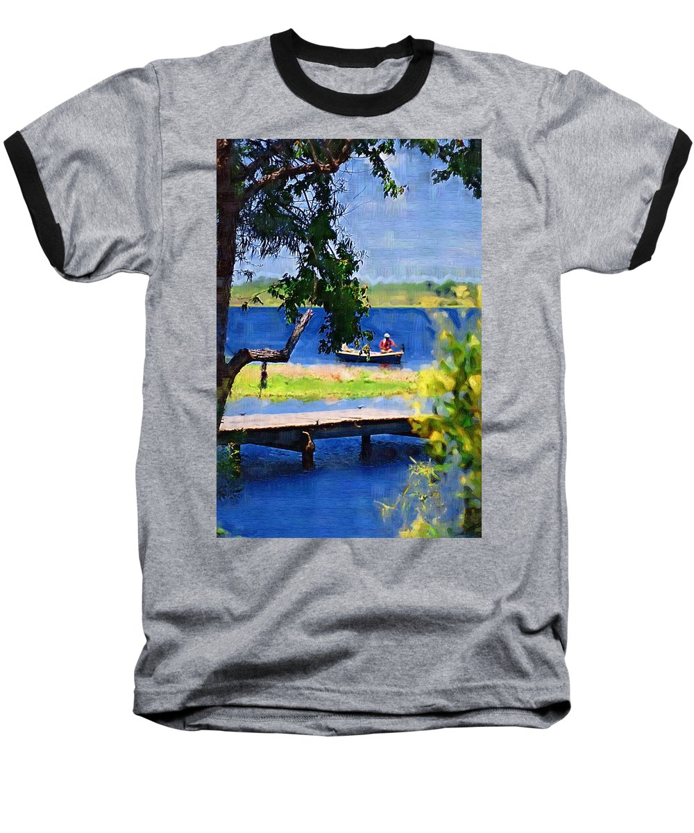 Ponds Baseball T-Shirt featuring the photograph Fishin by Donna Bentley
