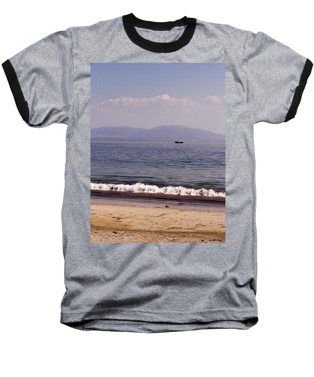 Irish Baseball T-Shirt featuring the photograph Fishing Boat On Ventry Harbor Ireland by Teresa Mucha