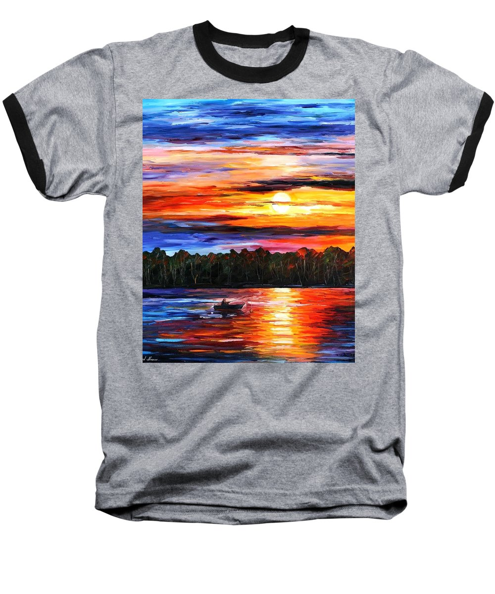 Seascape Baseball T-Shirt featuring the painting Fishing By The Sunset by Leonid Afremov