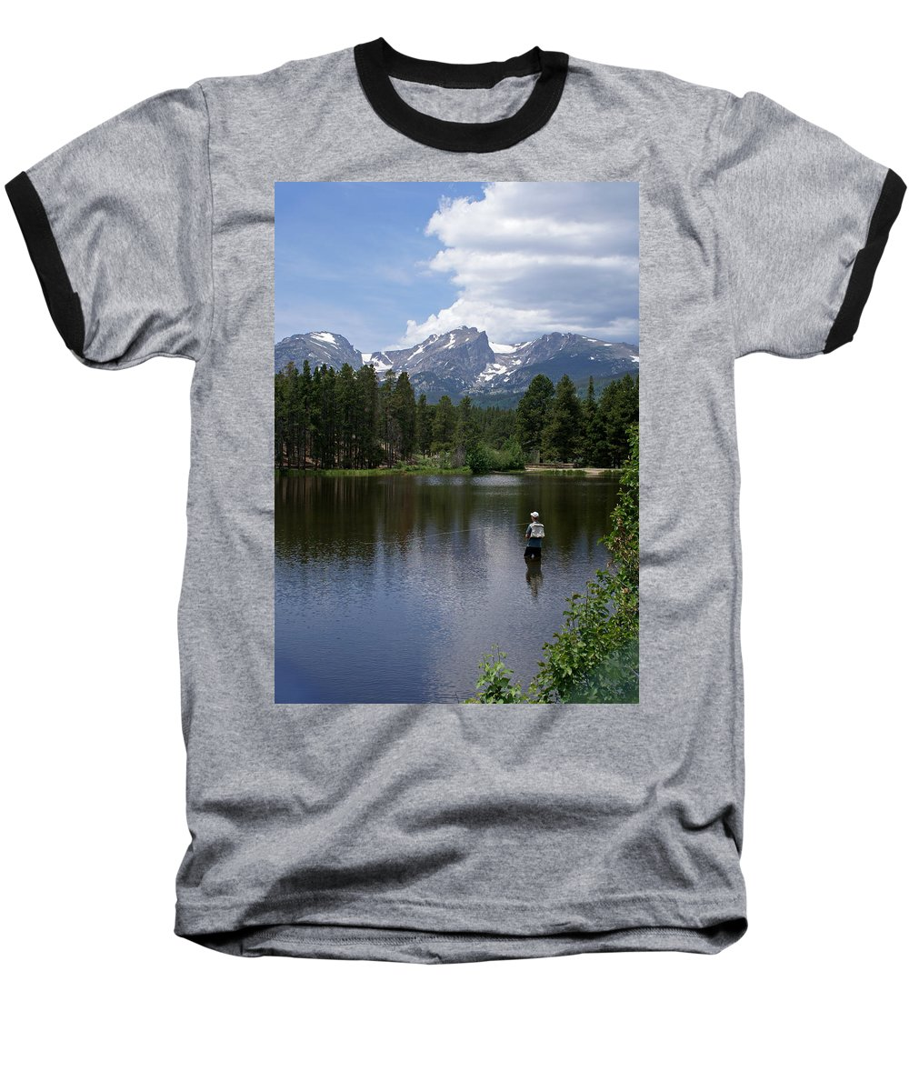 Fishing Baseball T-Shirt featuring the photograph Fishing In Colorado by Heather Coen
