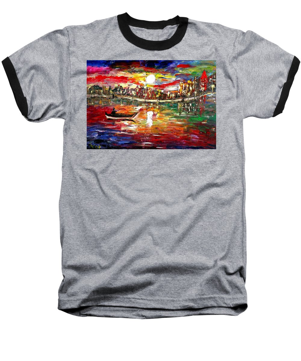 Art Baseball T-Shirt featuring the painting Fishing In The Moonlight by Luiza Vizoli