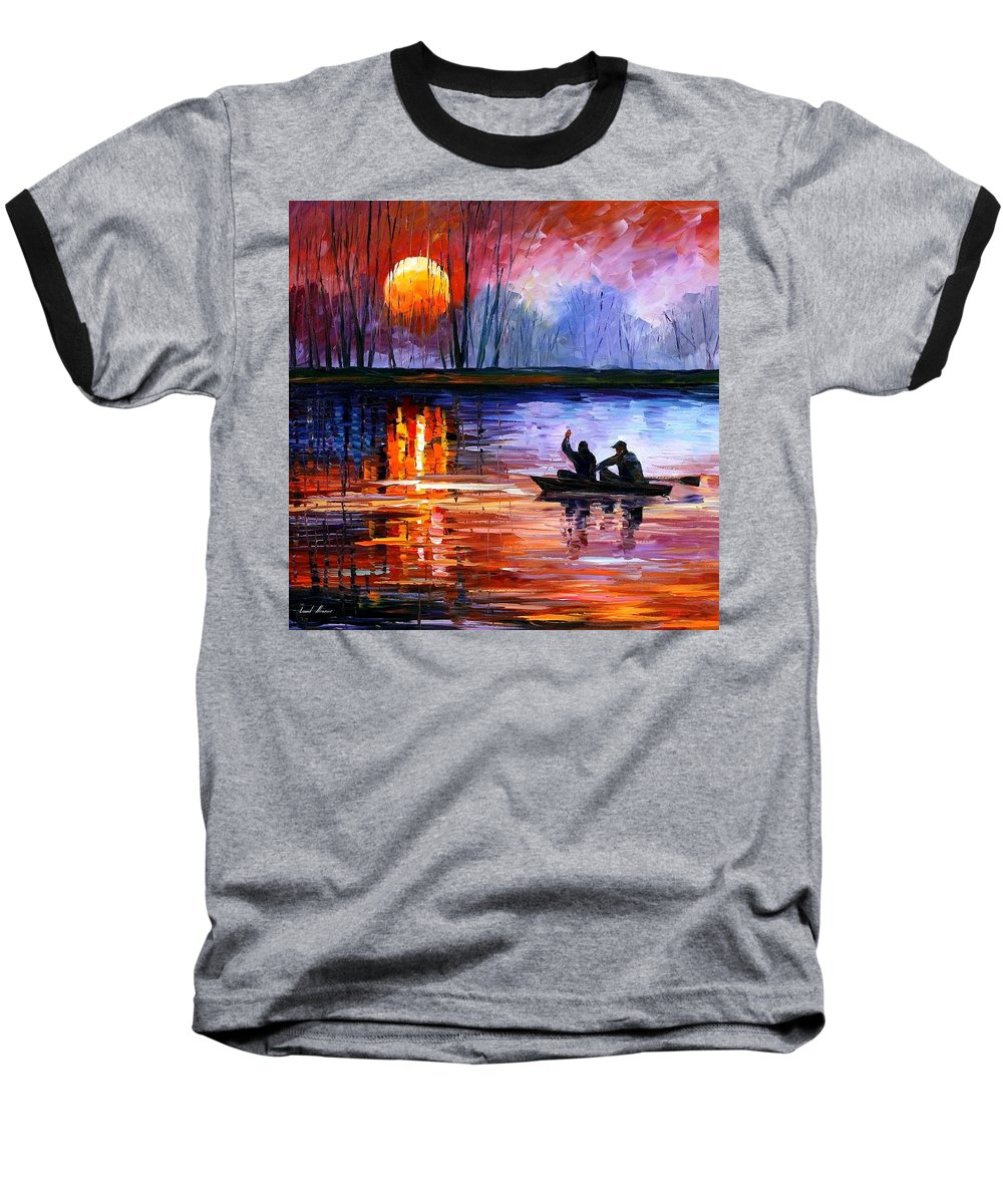 Seascape Baseball T-Shirt featuring the painting Fishing On The Lake by Leonid Afremov