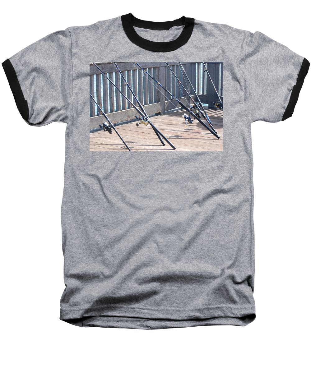 Pier Baseball T-Shirt featuring the photograph Fishing Rods by Rob Hans