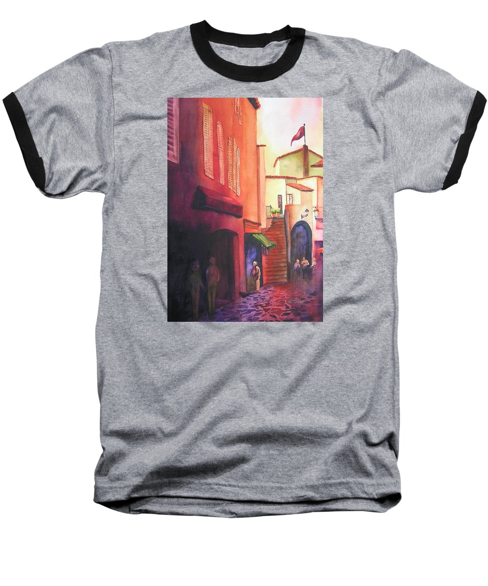 Europe Baseball T-Shirt featuring the painting Flag Over St. Tropez by Karen Stark