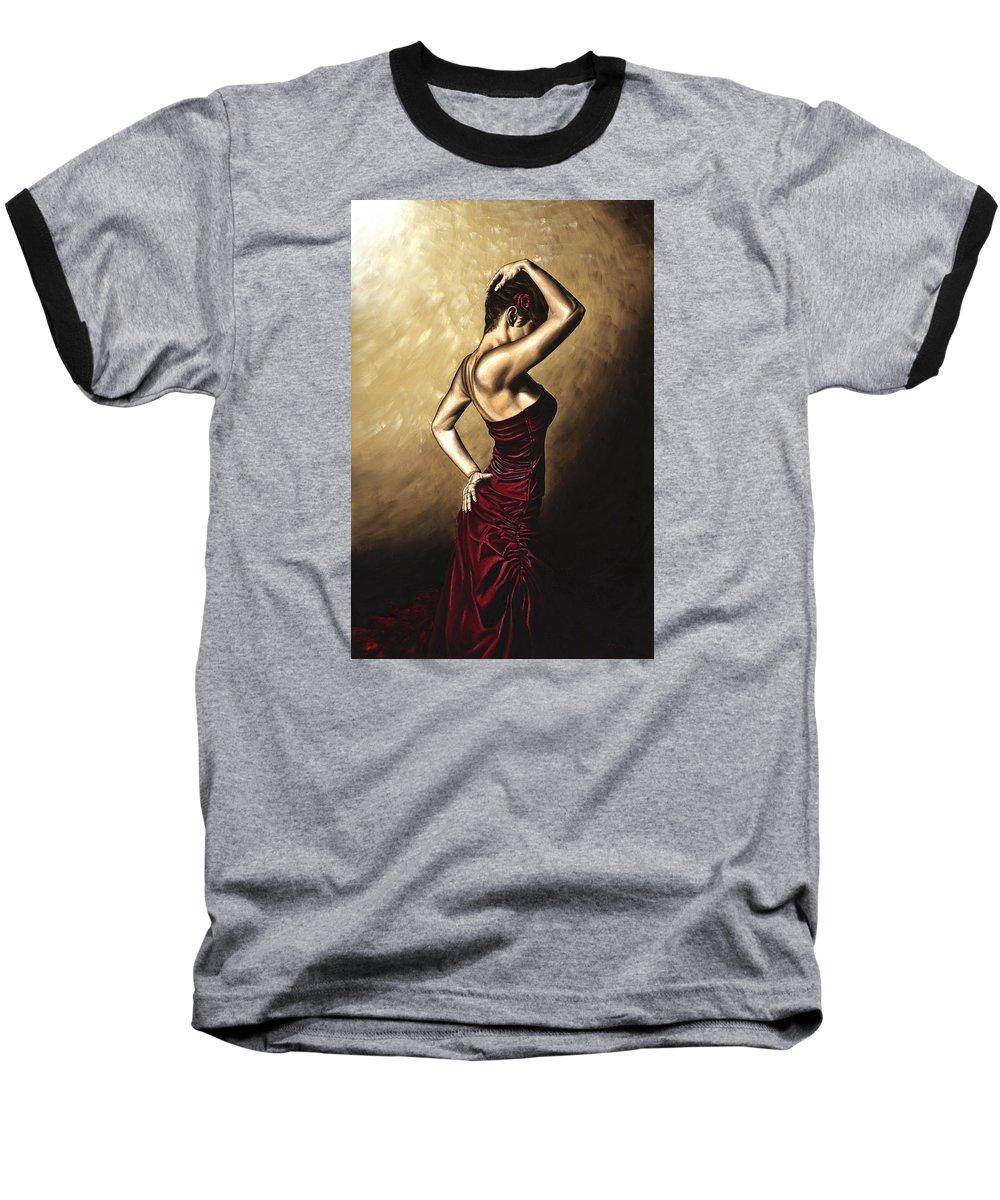 Flamenco Baseball T-Shirt featuring the painting Flamenco Woman by Richard Young