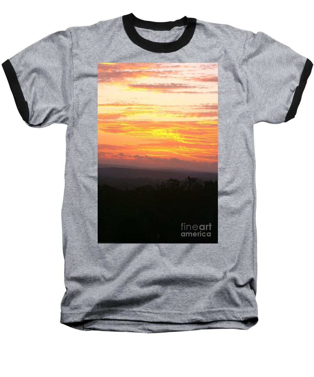 Sunrise Baseball T-Shirt featuring the photograph Flaming Autumn Sunrise by Nadine Rippelmeyer