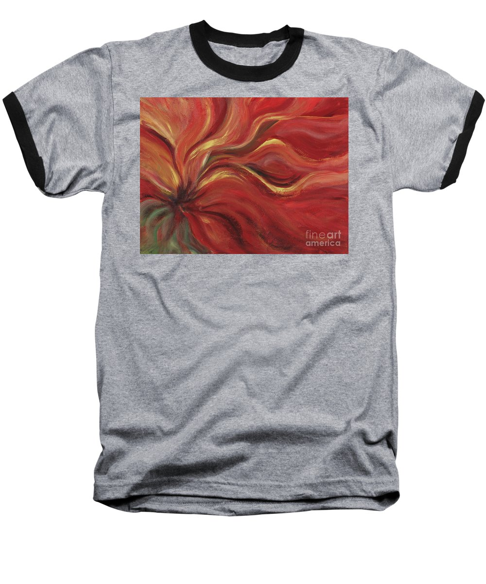 Red Baseball T-Shirt featuring the painting Flaming Flower by Nadine Rippelmeyer