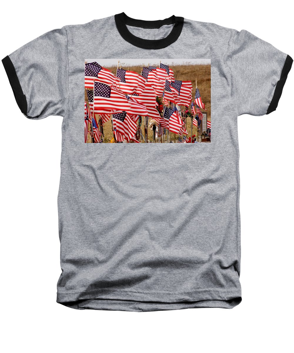 Flags Baseball T-Shirt featuring the photograph Flight 93 Flags by Jean Macaluso