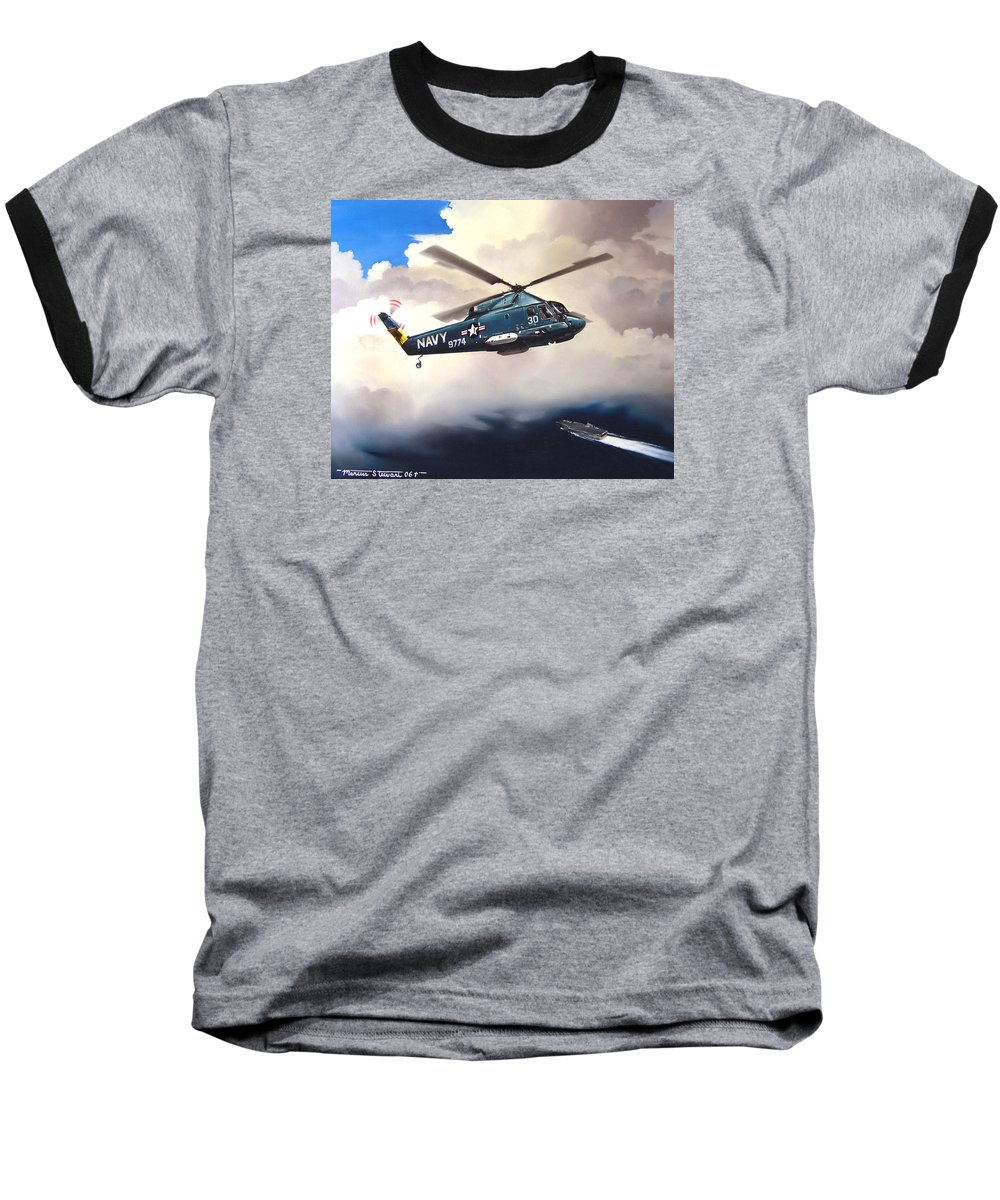 Military Baseball T-Shirt featuring the painting Flight Of The Seasprite by Marc Stewart