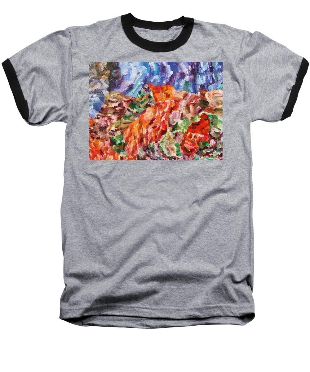 Fusionart Baseball T-Shirt featuring the painting Flock by Ralph White