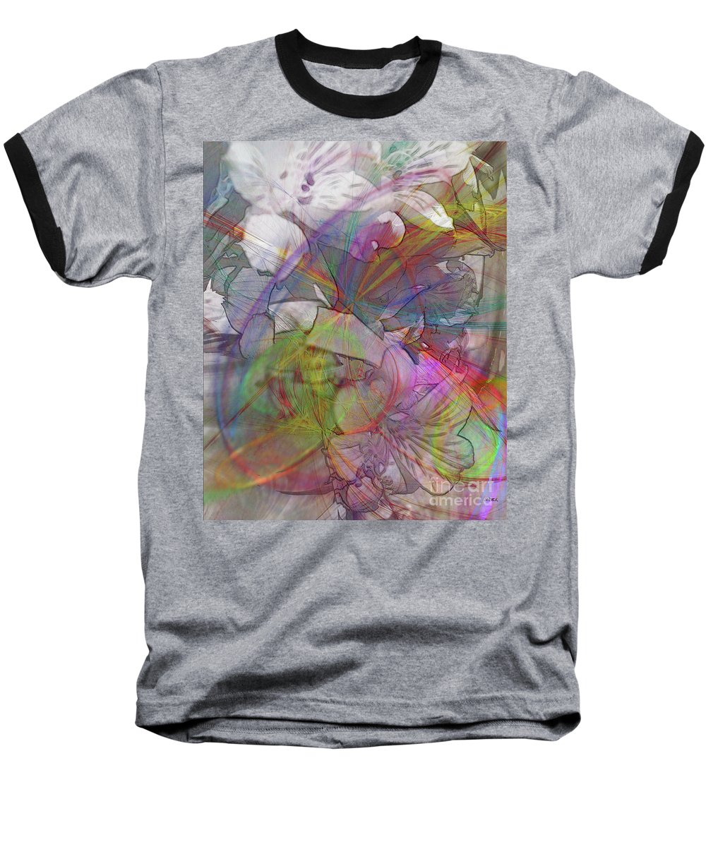 Floral Fantasy Baseball T-Shirt featuring the digital art Floral Fantasy by John Beck