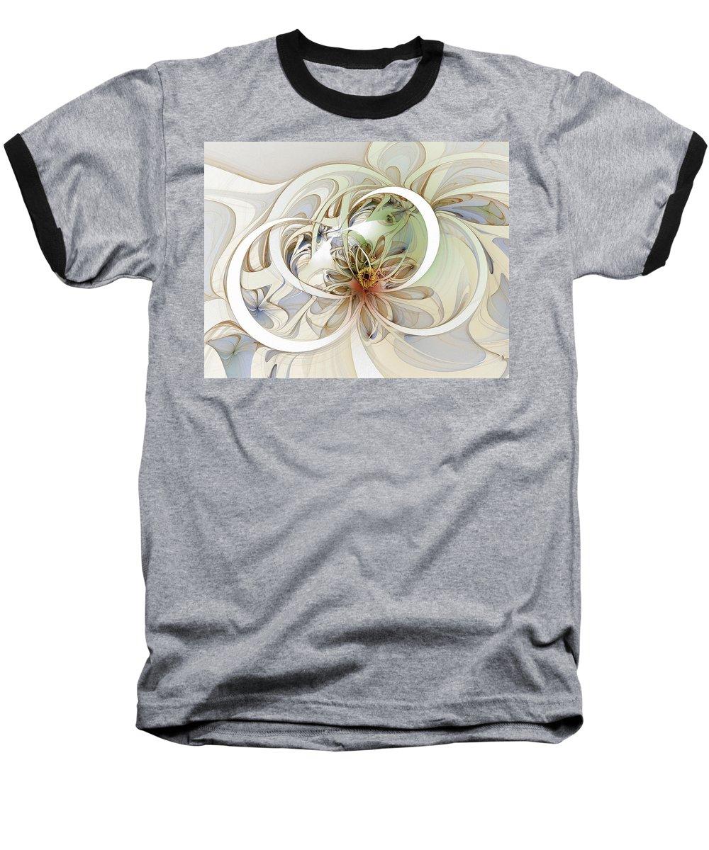 Digital Art Baseball T-Shirt featuring the digital art Floral Swirls by Amanda Moore