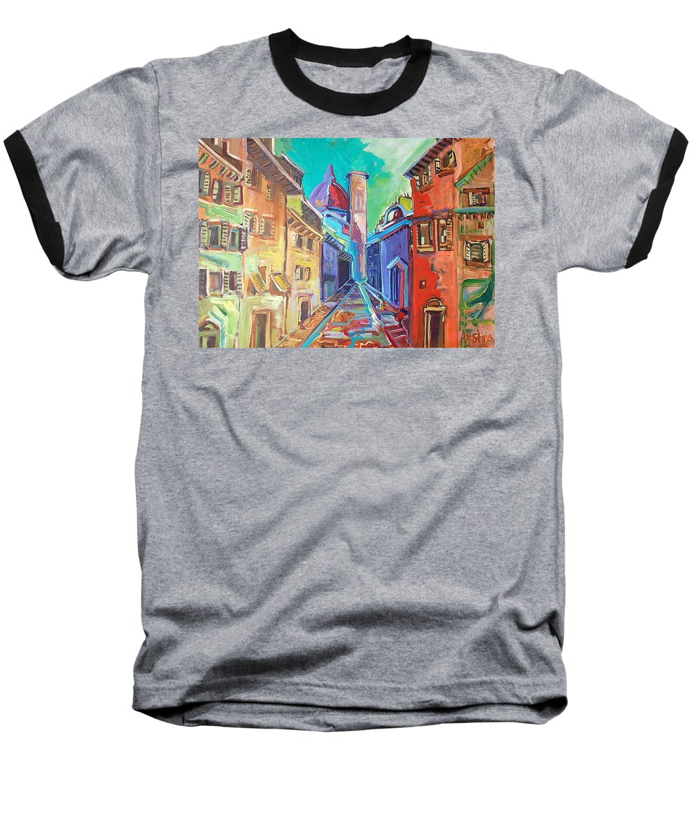 City Baseball T-Shirt featuring the painting Florence by Kurt Hausmann