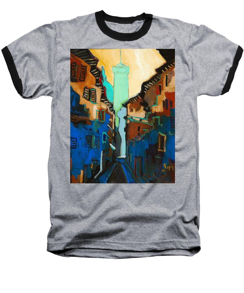 Florence Baseball T-Shirt featuring the painting Florence Street Study by Kurt Hausmann