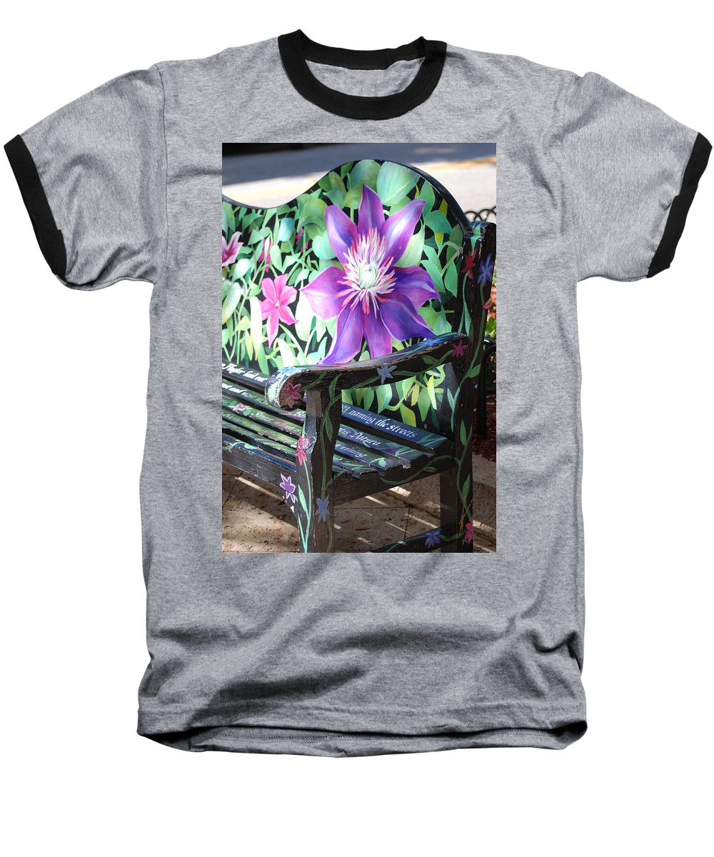 Macro Baseball T-Shirt featuring the photograph Flower Bench by Rob Hans