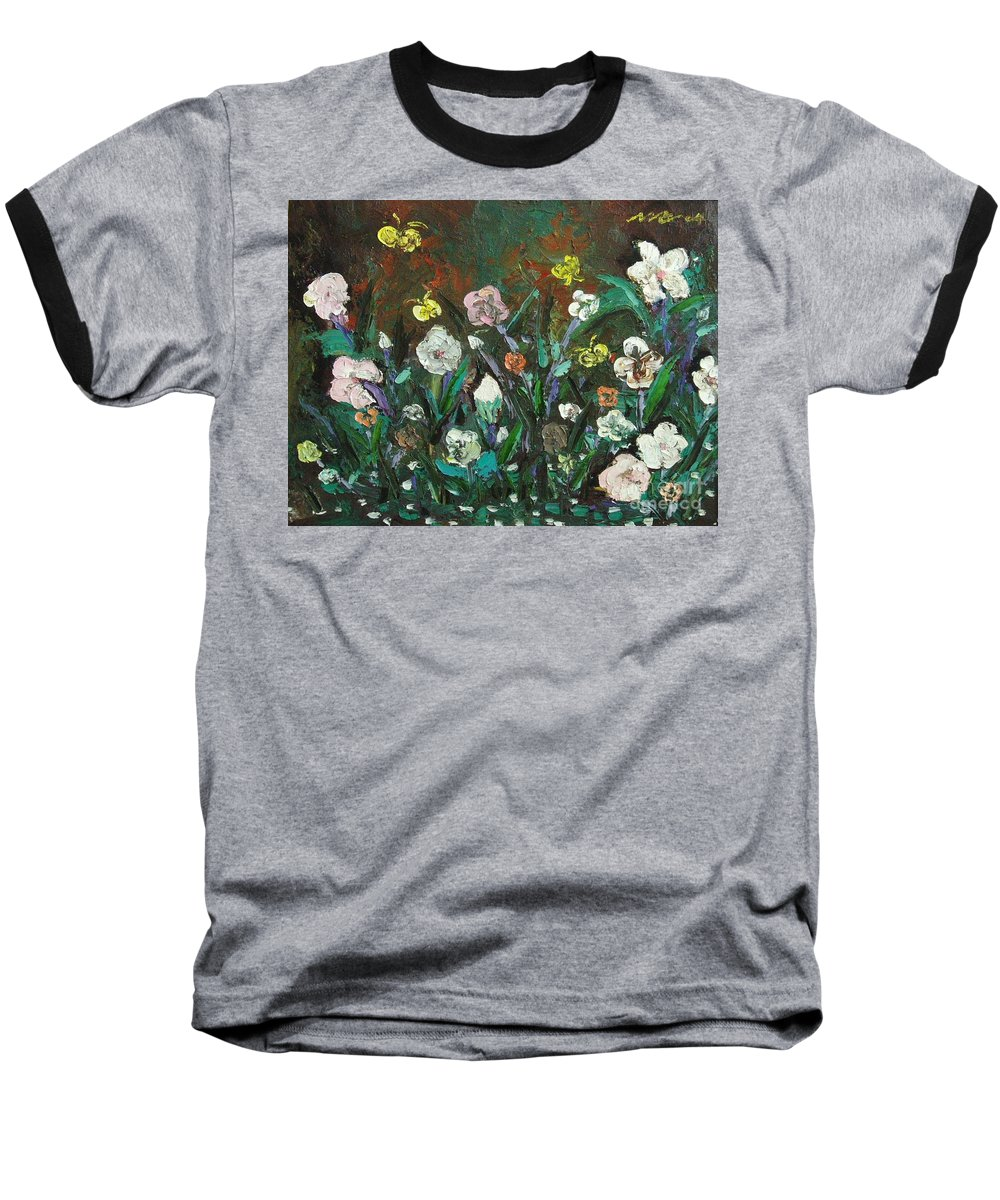 Abstract Paintings Baseball T-Shirt featuring the painting Flower Garden by Seon-Jeong Kim