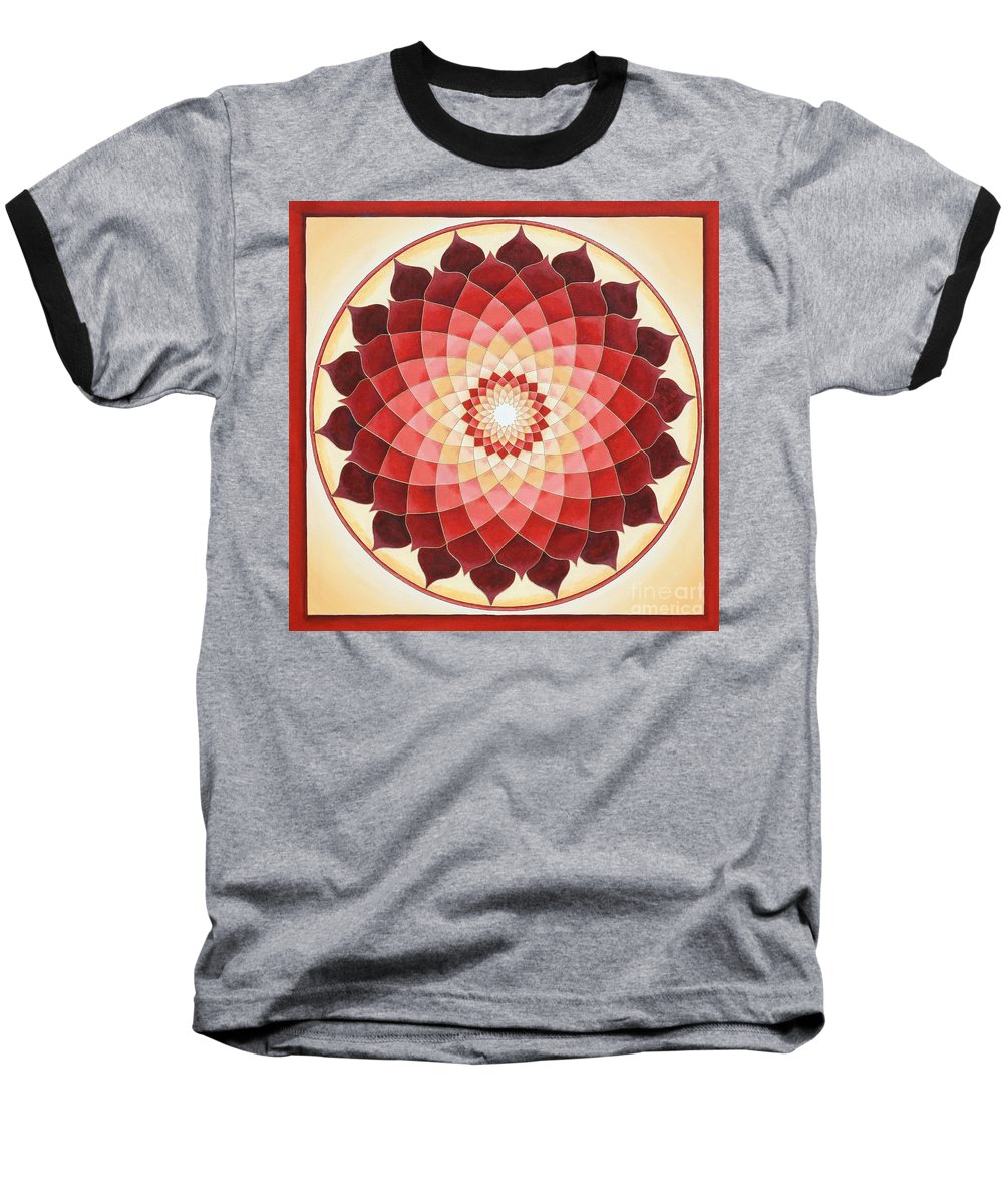 Mandala Baseball T-Shirt featuring the painting Flower Of Life by Charlotte Backman