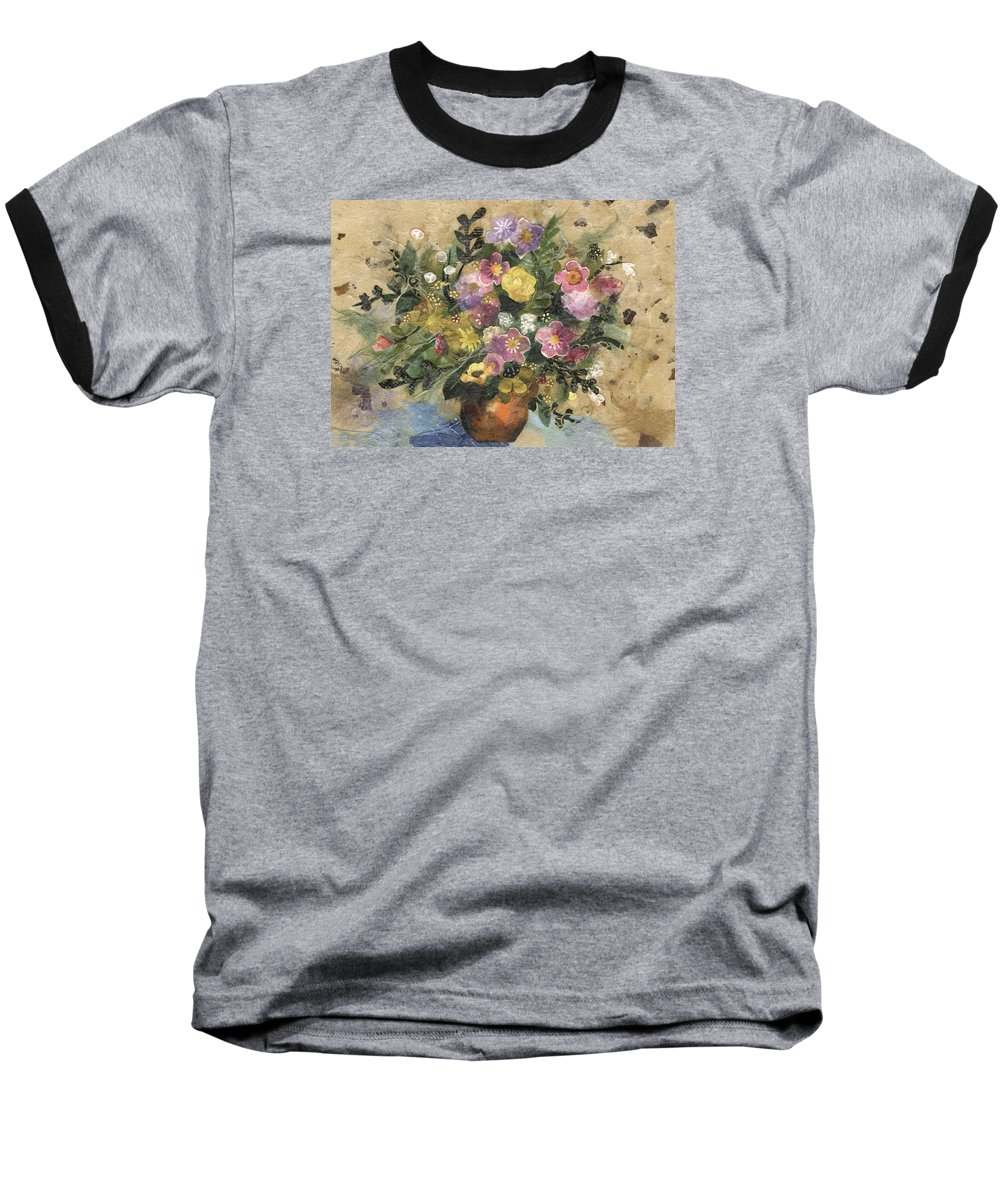 Limited Edition Prints Baseball T-Shirt featuring the painting Flowers In A Clay Vase by Nira Schwartz